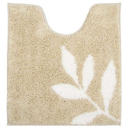 Купить Коврик для туалета Welle Leaves 50х55 см микрофибра цвет бежевый дешевле