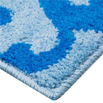 Коврик для ванной Узоры 50х80 см цвет голубой