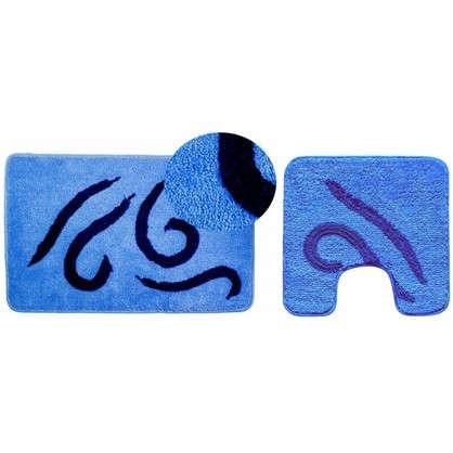 Коврик для ванной Волна 50х80 см цвет синий