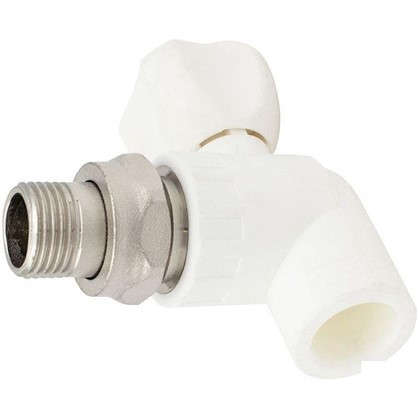 Кран для радиатора угловой 20х1/2 наружная резьба полипропилен
