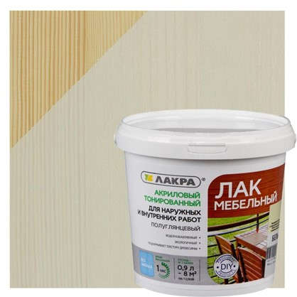 Купить Лак тонированный для мебели Лакра цвет белый 0.9 л дешевле