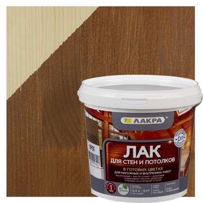 Купить Лак тонированный для стен и потолка Лакра цвет орех 0.9 л дешевле