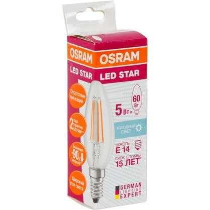 Светодиодная лампа Osram E14 220 В 5 Вт свеча 3 м² свет холодный белый