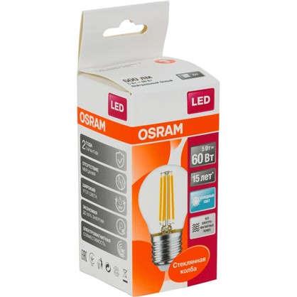 Светодиодная лампа Osram E27 220 В 5 Вт шар 3 м² свет холодный белый