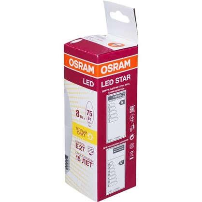 Светодиодная лампа Osram E27 220 В 8 Вт свеча 4 м² свет теплый белый