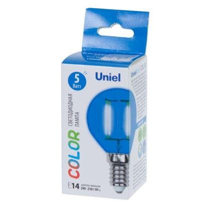 Светодиодная лампа Uniel Color шар E14 5 Вт свет синий
