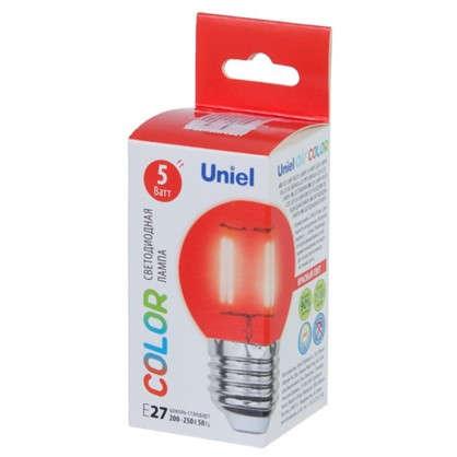 Светодиодная лампа Uniel Color шар E27 5 Вт свет красный