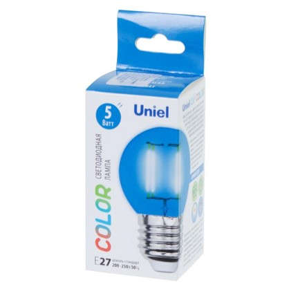Светодиодная лампа Uniel Color шар E27 5 Вт свет синий