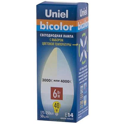 Светодиодная лампа Uniel свеча E14 6 Вт 450 Лм свет теплый/холодный белый