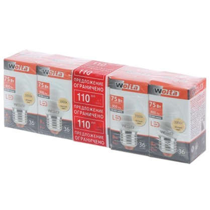 Светодиодная лампа Wolta шар E27 8 Вт свет теплый белый 5 шт.