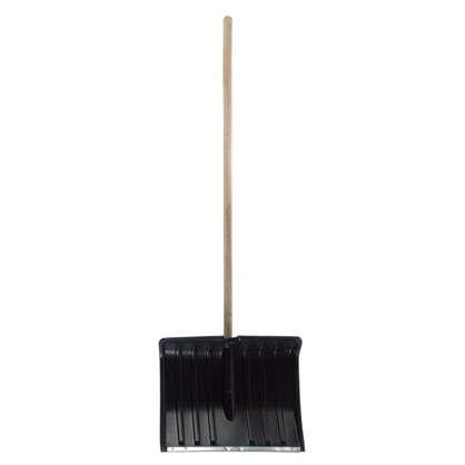 Лопата с планкой для уборки снега 50 см пластик деревянный черенок