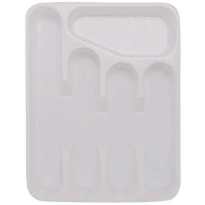 Лоток для столовых приборов раздвижной 33.5х26х4.8 см полипропилен цвет белый