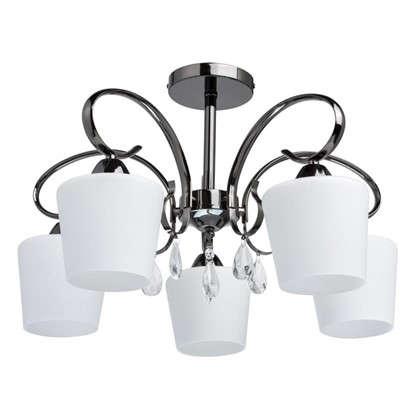 Купить Люстра Блеск-2 5xE27x60 Вт металл/стекло цвет черный/белый дешевле