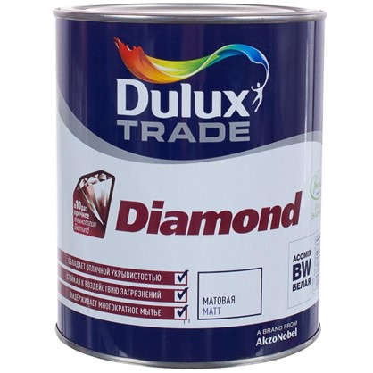 Купить Матовая краска для стен Dulux Trade Diamond база BW 1 л дешевле