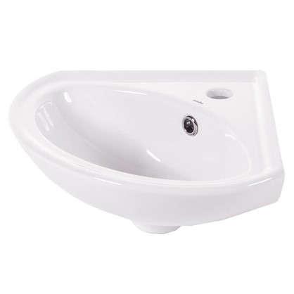 Купить Мини-Раковина для ванной угловая Веер керамика 36 см цвет белый дешевле
