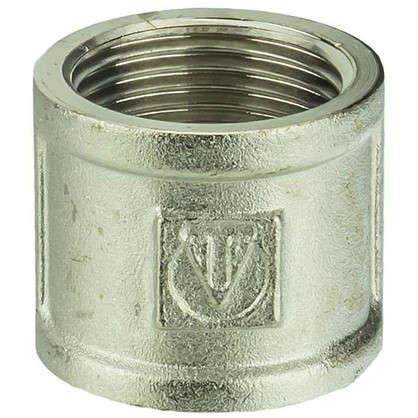 Муфта Valtec внутренняя-внутренняя резьба 1 мм никелированная латунь