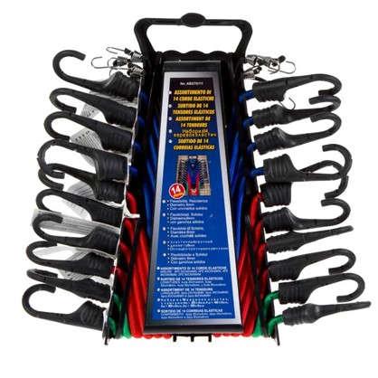 Набор эластичных веревок с крюками 0.25-0.8 м 14 шт.