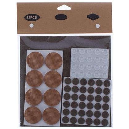 Набор фетровых набоек круглые/квадратные войлок цвет коричневый 83 шт.