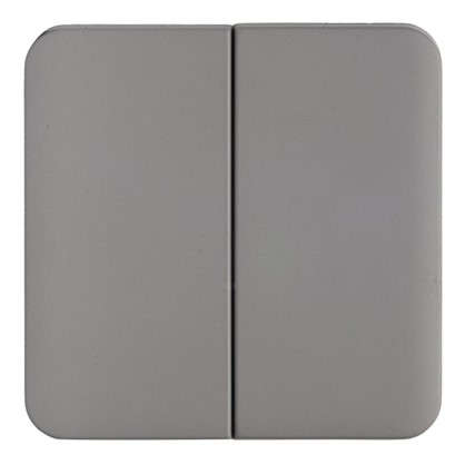 Накладка для выключателя/переключателя Lexman 2 клавиши цвет серый