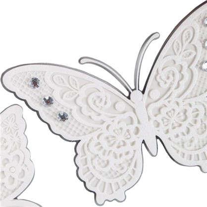 Наклейка 3D Белые бабочки СВА 1402