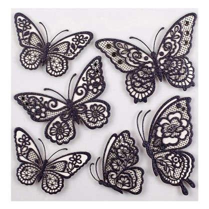 Наклейка 3D Черные бабочки СВА 1401