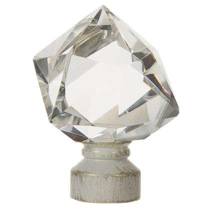 Наконечник Куб стекло 7 см цвет белый антик