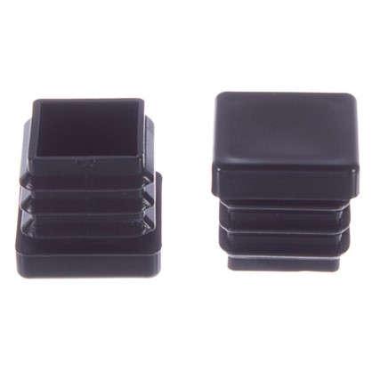 Насадки Standers 25х25 мм квадратные пластик цвет черный  4 шт.