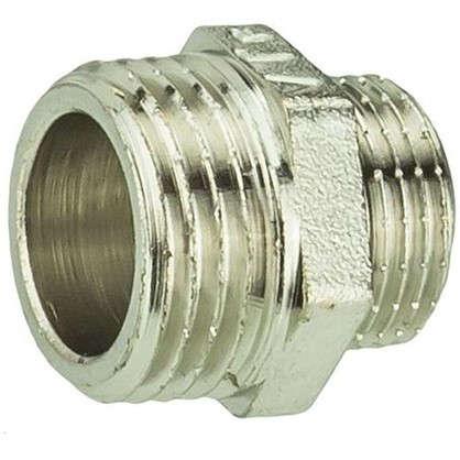 Ниппель переходной Valtec наружная резьба 1/2х3/8 мм никелированная латунь