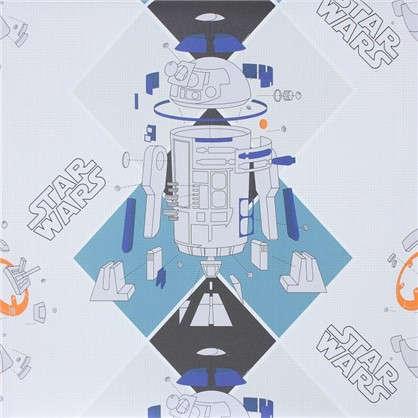 Обои 106х10 м флизелиновые бело-голубые рисунок Star Wars