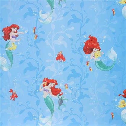Обои 106х10 м флизелиновые голубые рисунок Русалочка