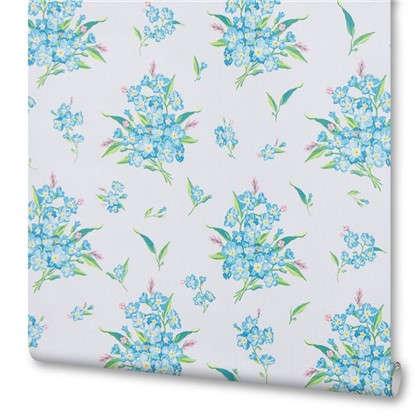 Обои бумажные Незабудки 0.53х10.05 м цвет голубой