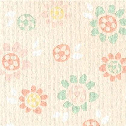 Обои Цветы бумажные цвет персиковый 0.53х10 м