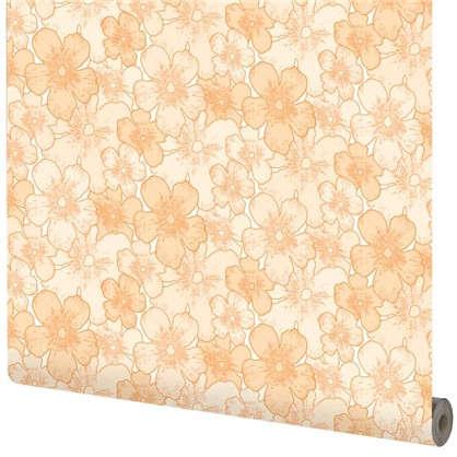 Обои Цветы на флизелиновой основе цвет оранжевый 1.06х10 м