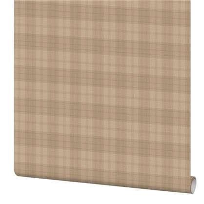 Обои Inspire Check виниловые на флизелиновой основе цвет светло-коричневый 1.06x10 м