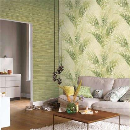 Обои Лист на флизелиновой основе цвет зеленый/бежевый 0.53х10.05 м