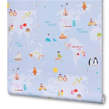 Обои на флизелиновой основе для детской 0.53х10 м карта цвет голубой Ra 613315