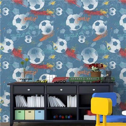 Обои на флизелиновой основе для детской Футбол 0.53х10.05 м цвет синий 1