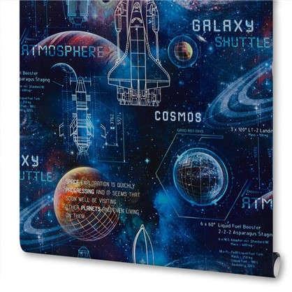 Обои на флизелиновой основе для детской Космос 1.06х10 м цвет синий ЭР 3725-2