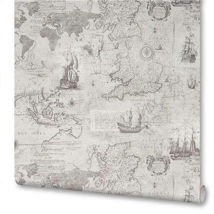 Обои на флизелиновой основе Карта 1.06х10 м цвет черно-белый Па 7206-14