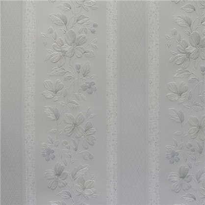 Обои Патриция Полоски на бумажной основе цвет белый 0.53х10 м