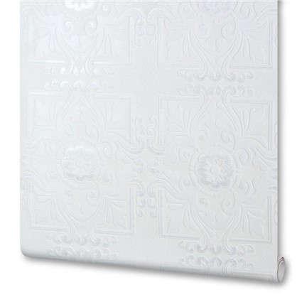 Обои виниловые 0.53х10 м орнамент цвет белый 78159