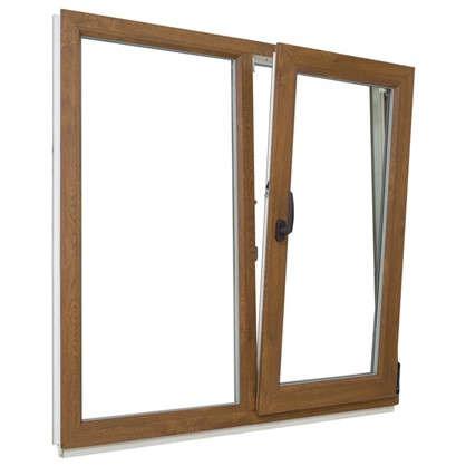 Окно ПВХ двустворчатое 120х120 см глухое/поворотно-откидное правое цвет золотой дуб