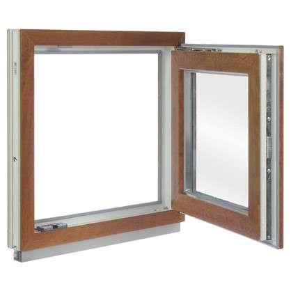 Окно ПВХ одностворчатое 60x60 см поворотно-откидное правое цвет золотой дуб