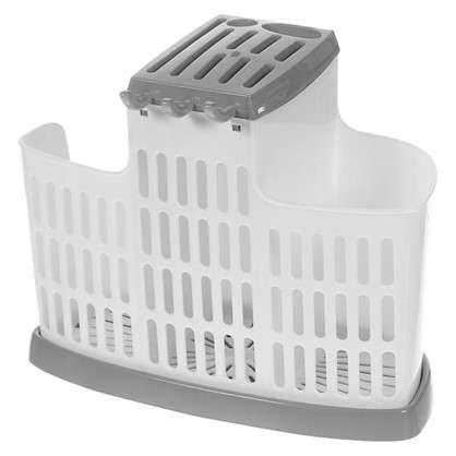 Органайзер для столовых приборов цвет белый/серый