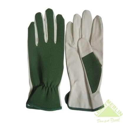 Перчатки садовые на резинке ht-8-XL кожа/спандекс