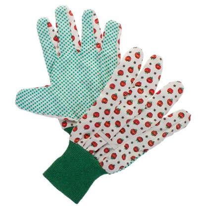 Перчатки садовые с рисунком hx-33-M  х/б-ПВХ