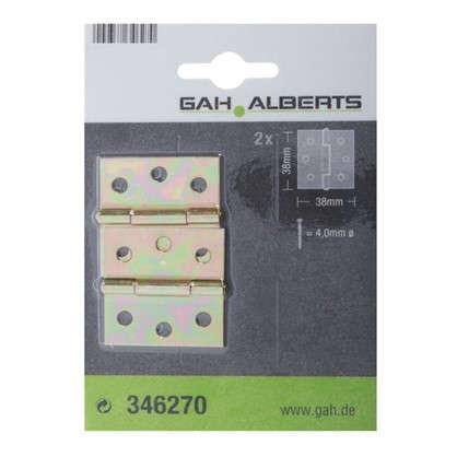 Петля карточная Gah Alberts 38x38х0.8 мм сталь оцинкованная цвет желтый 2 шт.