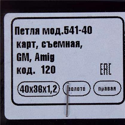 Петля карточная съемная правая Amig 541 40х36 мм сталь цвет золото