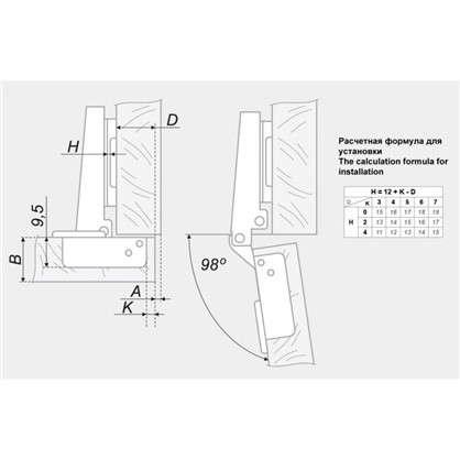 Петля накладная Boyard Slide-on H402A21/1310/6/A