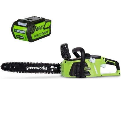 Купить Пила цепная аккумуляторная GreenWorks 40 В безщёточный двигатель без аккумулятора и зарядного устройства в комплекте дешевле